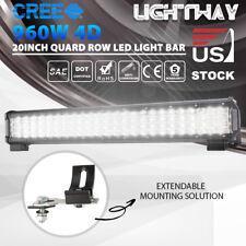 Quad 4 Row CREE LED Light Bar Spot Flood Combo driving light fog 20 inch 960w