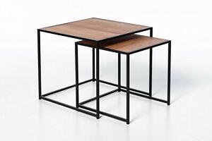 Solid Oak Wood Metal Frame Nesting Coffee Table Set of 2