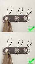 Lot Set of 2 Wire COAT Hat WALL HOOKS Rack Rustic Metal New antique vintage