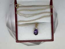 """.63CTTW Oval Amethyst W/ Diamond 14kt Yellow Gold Necklace. 18"""""""