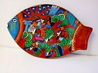 Fish Shape Platter Mexico Hand Painted Village Fiesta Clay Plate Folk Art VTG