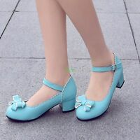 Womens Mary Jane Lolita Bowknot Low Chic Heel buckle shoes Plus Size