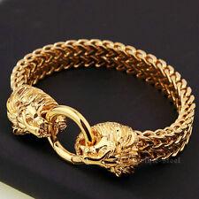 Mens Stainless Steel Punk Gold Lion Head Franco Cuban Chain Bangle Bracelet
