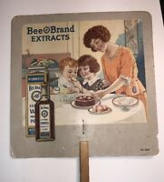 Bee Brand Extract Advertising Fan Sign Pretty Flapper Girl & Kids McCormick