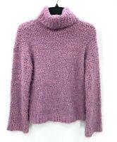 Nordstrom Abound Womens S Fuzzy Knit Turtleneck Sweater Purple Lion
