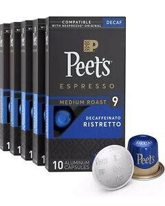 Peet's Coffee Espresso 10 Capsules DECAF Ristretto Intensity 9. Ex 9/2021
