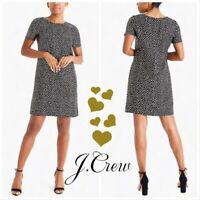 J. CREW Black Gold Metallic Heart Print Shift Short Sleeve Dress Size 8 EUC