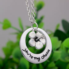 Silver Plated 'You'Re My Ohana' Flower Alphabet Family Necklace Creative Jewelry