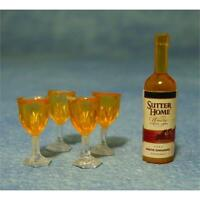 Bottle of Wine & 4 Glasses 1:12 Scale for Dolls House