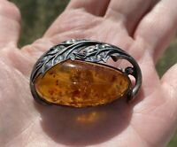 ANTIQUE VINTAGE ART DECO LARGE BALTIC AMBER STERLING SILVER 925 BROOCH 45X28mm