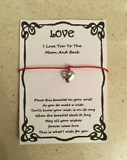 WISH BRACELET LOVE MOON AND BACK GIRLFRIEND WIFE GIFT CARD VARIOUS COLOURS CHARM