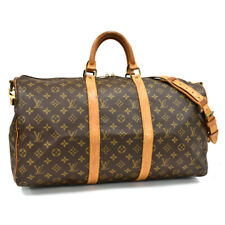 Auth LOUIS VUITTON Monogram Keepall Bandouliere 50 M41416 Traveling Bag Brown