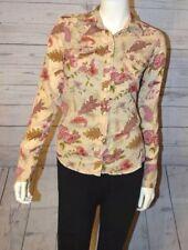 Gap 4 Tan Floral Button Down Snap Top Shirt Pink Leaf Long Sleeve 100% Cotton