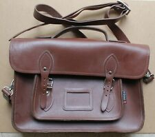 "REAL LEATHER BROWN SATCHEL/BAG /HANDBAG/SCHOOL BAG BY YOSHI - 14"" UNUSED"