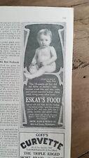 1907 ESKAYS baby food nude 10 month old boy vintage ad