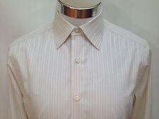 Stefano Ricci Dress Shirt White Silver Stripes Cotton sz 15 1/2 Made Italy