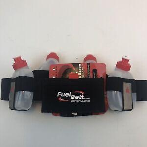 NWT FuelBelt IronMan Black 4 Bottle Hydration Custom Fit Waist Belt Size L