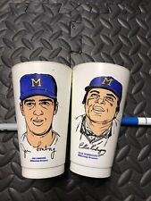 1972/73 7-11 Slurpee MLB Baseball Cups Milwaukee Brewers set of 2 Rare Mancave