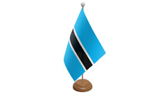 Botswana Small Table Flag with Wooden Stand