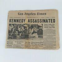 John F Kennedy Shot Assassination original 1963 Los Angeles Times Newspaper