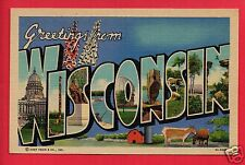 WISCONSIN GREETINGS FROM LARGE LETTER  BARN COWS  BRINKMAN SEA GIRT NJ  POSTCARD