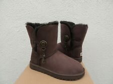 UGG CHOCOLATE AZALEA BAILEY BUTTON CHARM SUEDE SHEEPSKIN BOOTS, US 7/ EUR 38 NIB