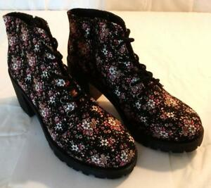 Combat Military Boots Black Floral Flower Daisy Rose Pink Fabric Zip Lace Up