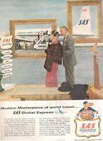 1957 Original Advertising' SAS Scandinavian Airlines System Company Aerial Globa