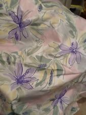 Vintage 1980s Pink And Purple Decorator Fabric Floral Abstract Over 1 YD Cotton