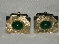 A Pair of Vintage 70's Jade Stone Gold Plated Mens Cufflinks