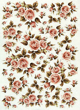 Rice Paper for Decoupage Scrapbooking Sheet Craft Tiny Pink Roses