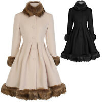 Hearts and Roses London Elsie Faux Fur Statement Vintage 1950s Retro Coat