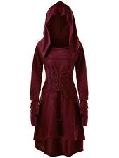 Lady Thumb Hole Lace Up Hooded Dress High Low Long Sleeve Costume Dress