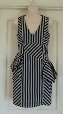 CUE DRESS Layered Back Frill Black & Silver  Size 8 6