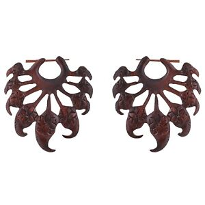 "Large Leaf Carved Ethnic stick Earrings  2.7"", AB-24"