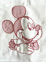New Disney MICKEY MOUSE Red Embroidery on White Handkerchief Cotton 15 x 15 EXCL