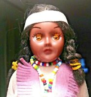 "Vintage Native American Indian Maiden 8"" Doll - Beads - Drum - Leather Dress"