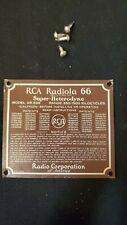 """Vintage Metal RCA Radiola 66 Badge Plaque Sign 3"""" x 2.75"""""""