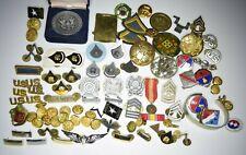 Estate Lot Vintage U.S. Army Pins Coins DUI Shooting Medals General Bracelet