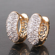 HUCHE Breeze Hollow Back Pave Diamond Clear Topaz Gold Filled Lady Hoop Earrings