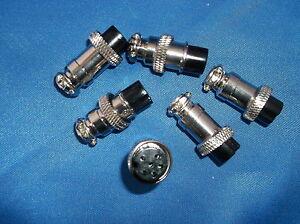 NEW CB,HAM 6 METAL FEMALE MICROPHONE PLUGS 6 PIN RCI,RANGER,MAGNUM ETC.