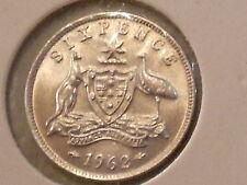 1962 NEAR GEM UNC  Silver SIXPENCE 6d QUEEN Elizabeth II ( very Nice )