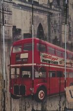 Wooden Wall Mounted Picture Plaque Hanging Red Bus to London Art Vintage