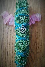 "Cedar Smudge Saining Stick, 7"", with silver PENTAGRAM,  Blessed, Magical, Reiki!"