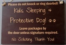 SALE - Dogs Sleeping Kids Warning No Soliciting Sign Signs Wooden