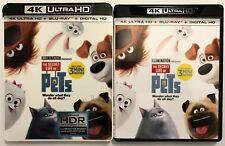 THE SECRET LIFE OF PETS 4K ULTRA HD UHD BLU RAY 2 DISC SET + SLIPCOVER SLEEVE