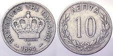 GRECIA GREECE 10 LEPTA 1894 A #6747