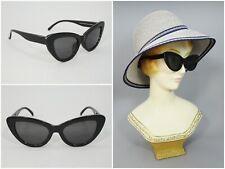 50s Retro Vintage Black Plastic Cat Eye Sunglasses Hollywood Rockabilly Style