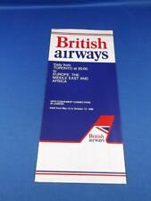 BRITISH AIRWAYS AIRLINE TIMETABLE DAILY FROM TORONTO TO EUROPE MIDDLE EAST 1980