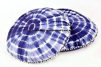 2 PC Indien Indigo Bleu Sol Décoratif Coussin Coton Décor Bohème Pom Dentelle